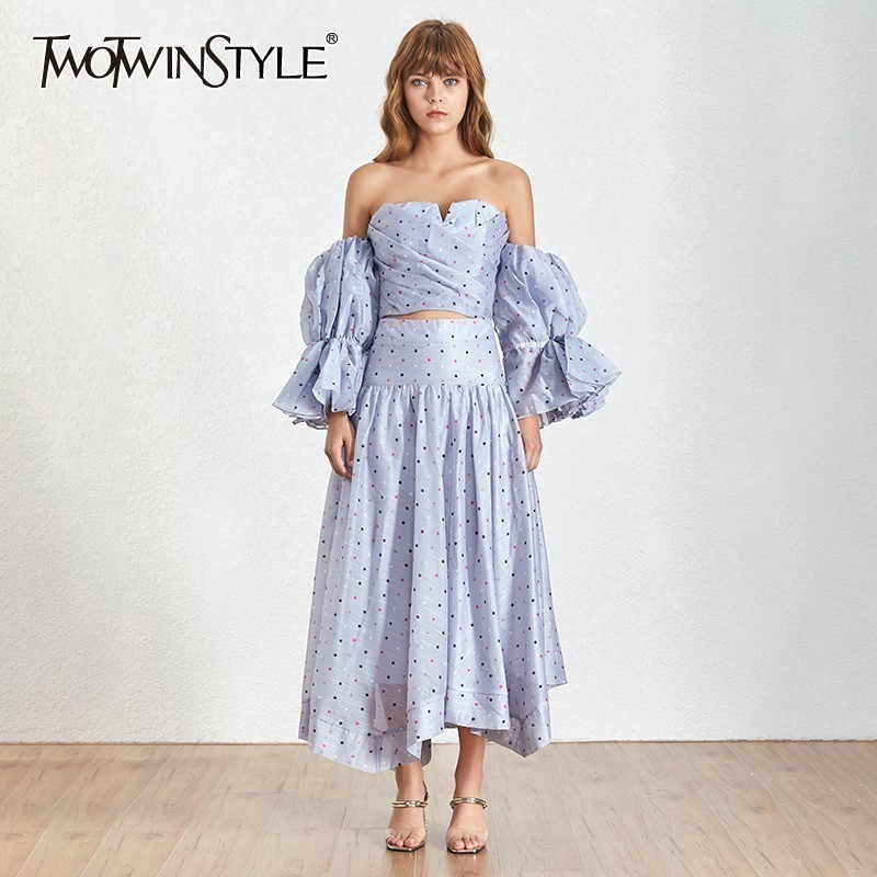 TWOTWINSTYLE Polka Dot Women Two Piece Suit Strapless Puff Sleeve Shorts Pullover With Zipper Mid Calf A-line Skirts Sets 2019
