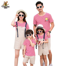 Family Matching Outfits Striped Mother Daughter T-shirt And Overalls Set Father And Son T-shirt Pants Set Family Clothing Sets