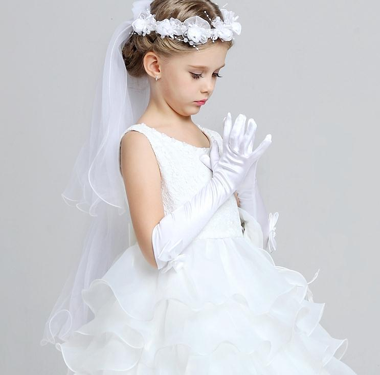 Long Bow Children's Dress Gloves Satin Pink And White Ceremonial Gloves