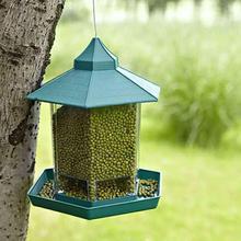 AsyPets зеленый павильон кормушка для птиц открытый подвесной контейнер для еды украшение сада ПЭТ корпус чашка для клетки