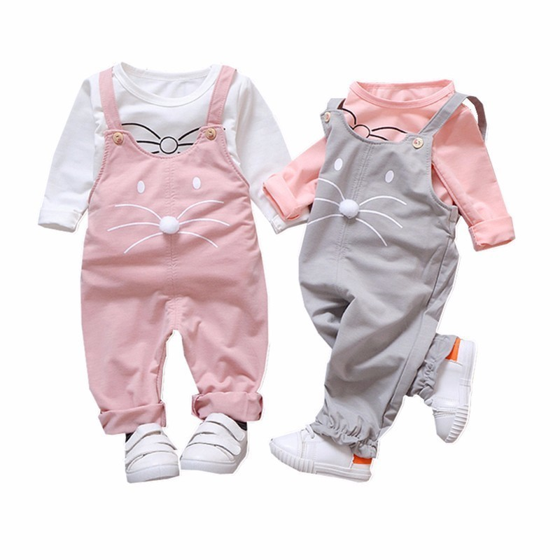2019 Fashion Cute Girls Outfits Children Cartoon Clothing Sets Baby T Shirt Overalls 2pcs/Sets Spring Summer Infants Tracksuits