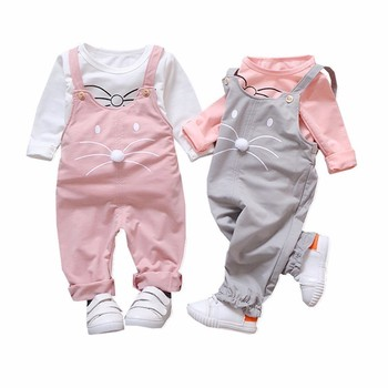New Fashion Cute Girls Outfits Children Cartoon Clothing Sets Baby T-shirt Overalls 2Pcs/sets Spring Summer Infants Tracksuits цена 2017