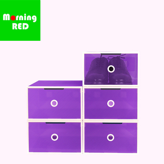 NEW5PCS Magnetic Automatic Door Eco-Friendly Shoe Storage Box Case Transparent Plastic Storage Box Rectangle PP Shoe Organizer