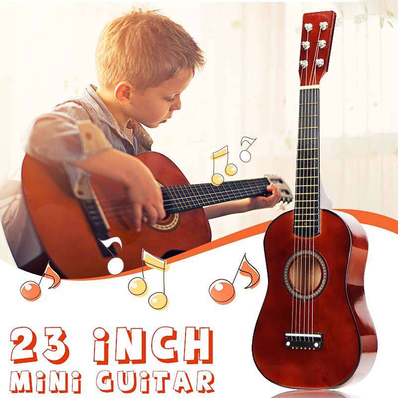 23 Inch 6 Strings Basswood Coffee Mini Kids Concert Acoustic Ukulele Guitar Musical Instrument For Child Music Lovers Gift(China)