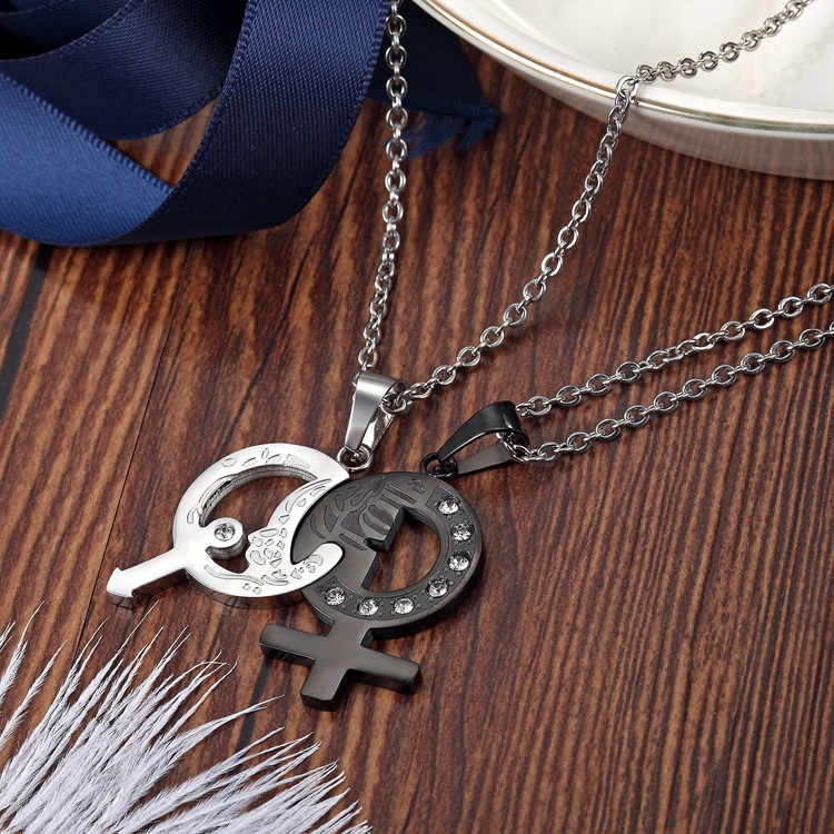 Couples Necklaces Black White Boy and Girl Symbol Pendants Necklace Stainless Steel Jewelry Love Crystal Necklace