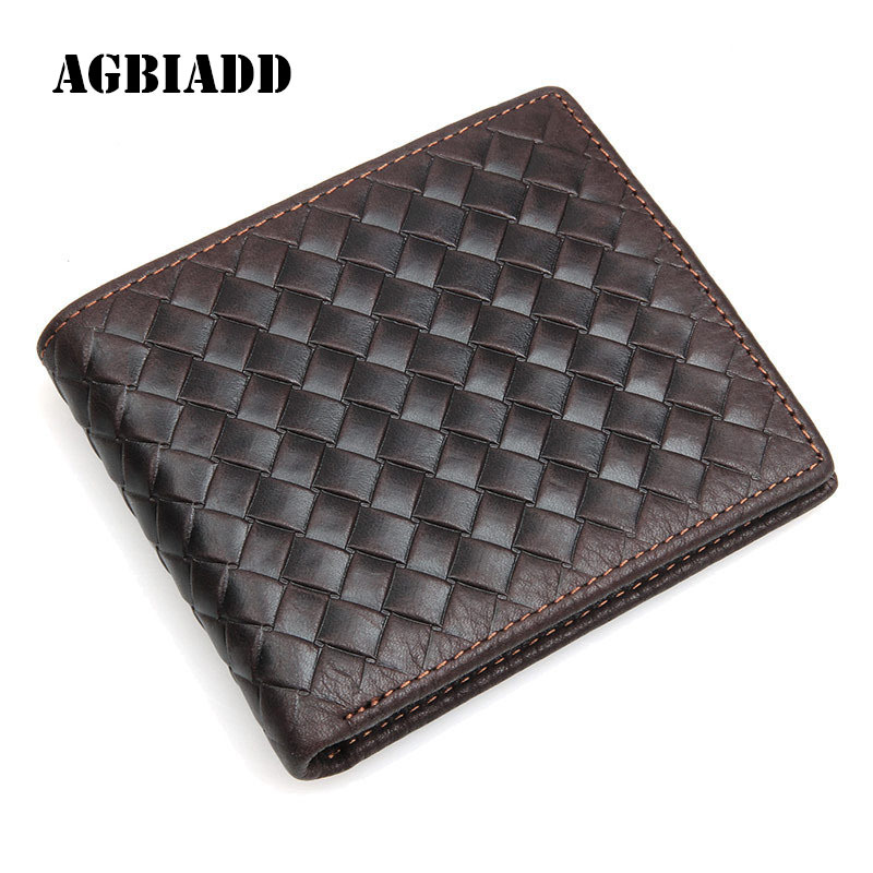 Genuine Cowhide Leather Wallet Men Purses Short Business Card Holder Men Wallets Luxury Brand Knitting Pattern Walet 292-40 genuine cow leather black brown men wallets luxury brand business fashion style short wallet handy card holder