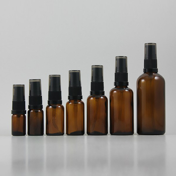 50pcs wholesale 30 ml round amber glass lotion packaging with black plastic pump, 30ml epty cosmetic glass lotion cream bottle