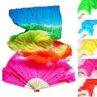 Colorido feito à mão feminino dança do ventre fãs ferramentas de boa qualidade simulação seda bambu longos véus fãs para venda quente