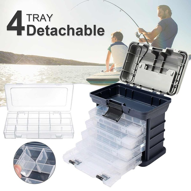 Fishing Tackle Box 4 Layers 270x170x260mm Portable Fishing Lures Storage Case
