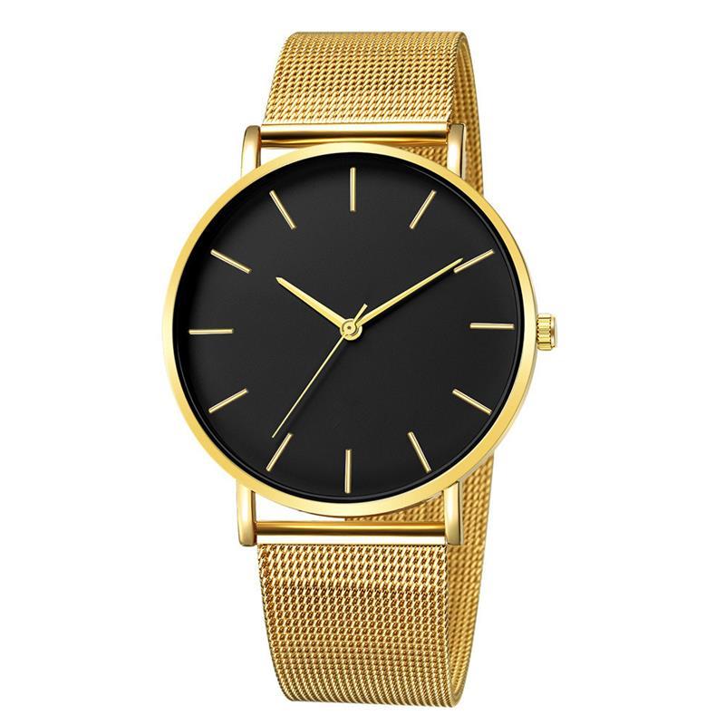 2020 moda kobiety czarne zegarki opaska siatkowa ze stali nierdzewnej kwarcowy zegarek luksusowe panie zegarek reloj mujer 5