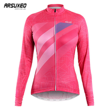 ARSUXEO Cycling Jersey Women Quick Drying Printing Clothing Ladies Wear Breathable MTB Clothes