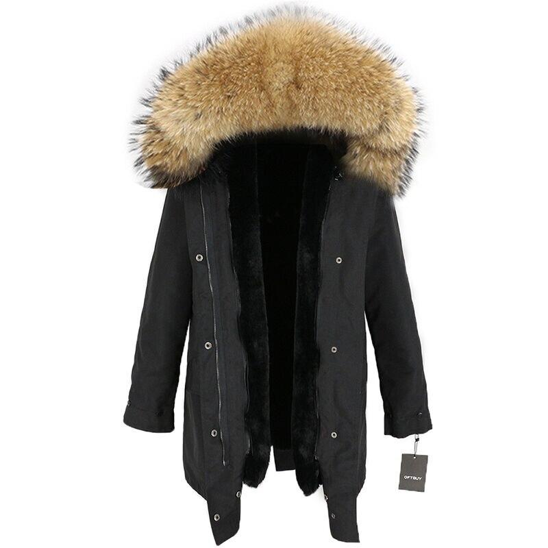 2019 imperméable longue Parka hiver veste femmes réel fourrure manteau naturel raton laveur garniture capuche fausse fourrure doublure détachable Streetwear