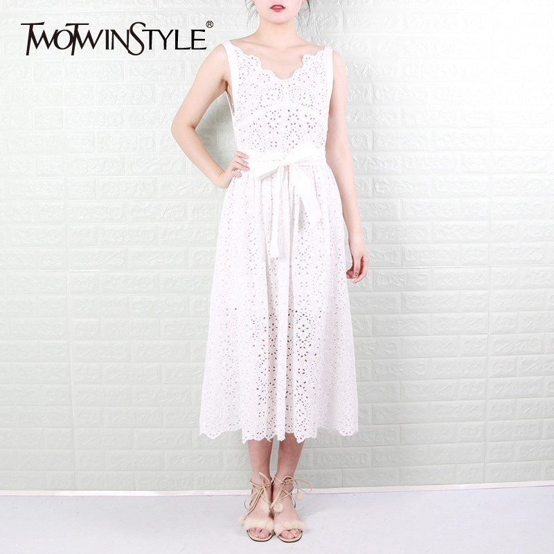 TWOTWINSTYLE Off Shoulder Sexy Dress Women V Neck High Waist Sleeveless Strap Hollow Out Maxi Dresses