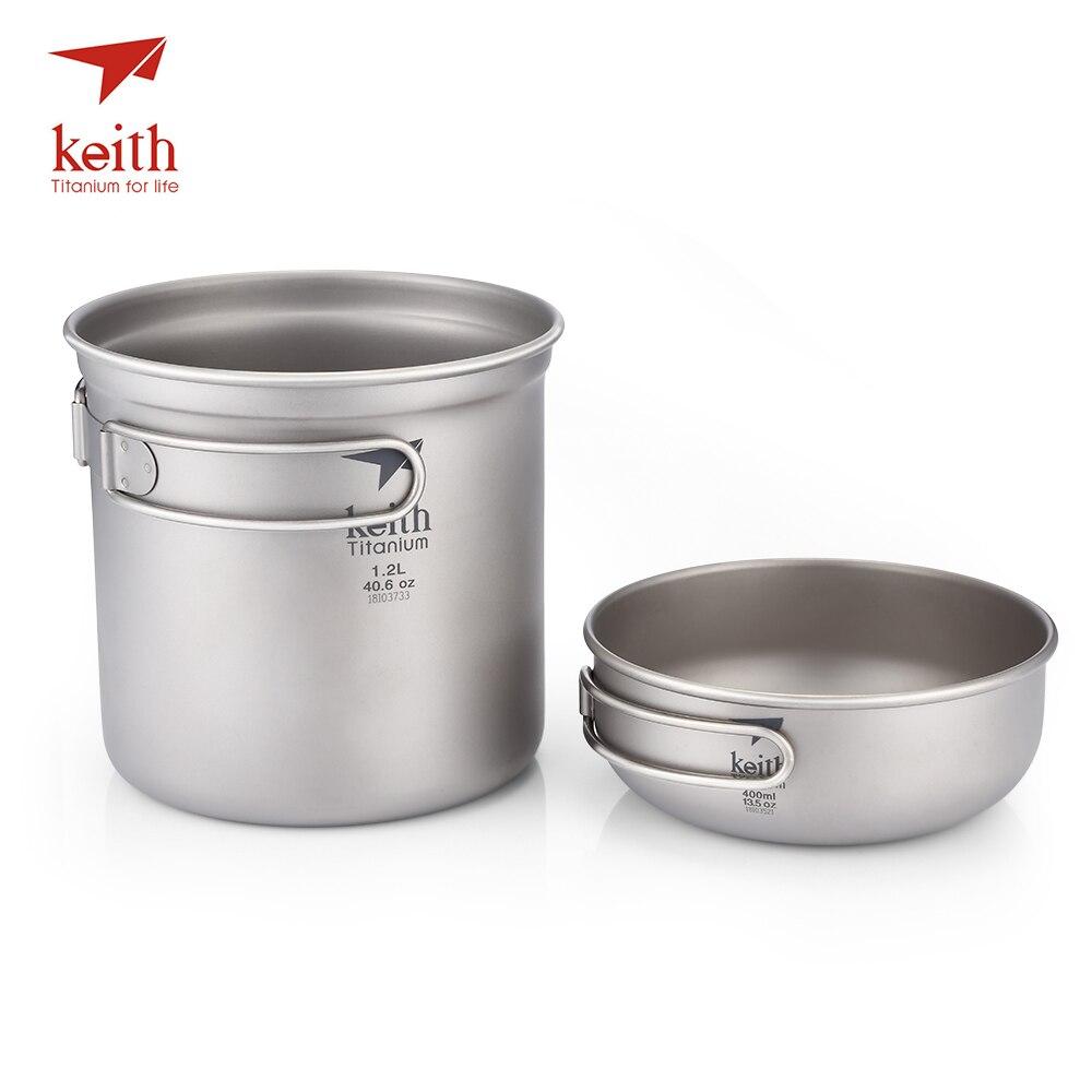 Keith Portable extérieur vaisselle Camp cuisine fournitures titane 1.2L + 400 ml Pot bol ultra-léger pliable poignée titane Pot bol
