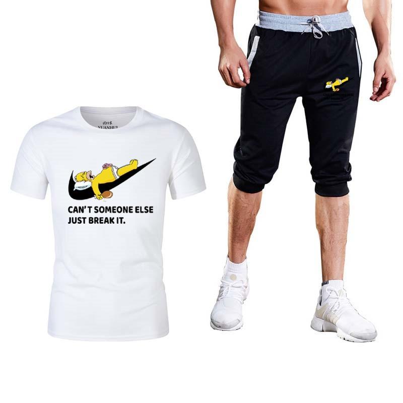 Rational 2019 Neue Mode Sommer Shorts + T Shirts 2 Stück Anzug Lustige T Nette Homme Casual Kurzen ärmeln Baumwolle Tops Sporthallen Sport Anzug Elegantes Und Robustes Paket