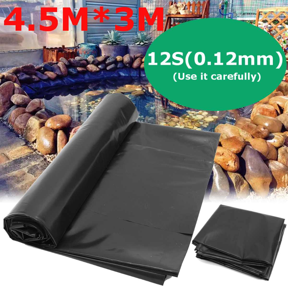 4.5X3M Fish Pond Liner Cloth Home Garden Pool Reinforced HDPE Heavy   Landscaping Pool Pond Waterproof Liner Cloth Black