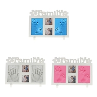 MagiDeal Wooden Baby Hand Print Footprint Photo Frame Kit Unique Elegant Baby Shower Party Gift with 4 bags of Clay Home Decor