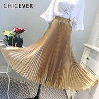 CHICEVER Vintage Elastic High Waist Midi Skirt For Women Pleated Ruffles Loose Big Size Autumn Women's Skirts Fashion New 2018