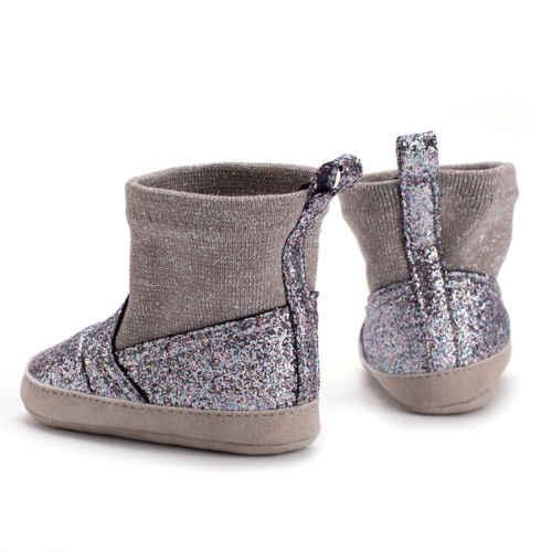 Для маленьких девочек из искусственной кожи с мехом ботинки с узором Повседневная обувь принцессы для детей, начинающих ходить; Теплая обувь детские ботинки от 0 до 18 месяцев