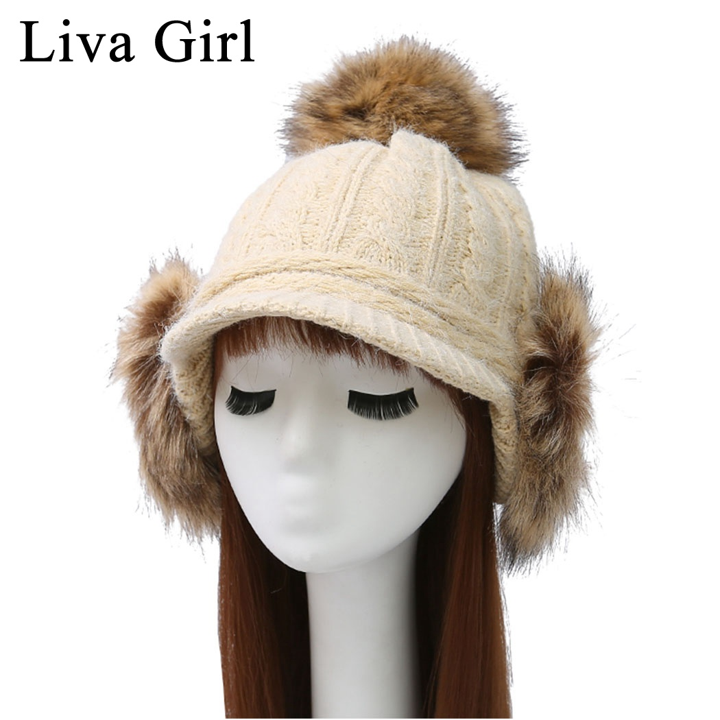 Fashion Style Liva Girl Brand Winter Hats For Women Pompom Plus Fluffy Bomber Hats Knitted Hats Flaps Earflap Big Hair Ball Ear Cap Gorros