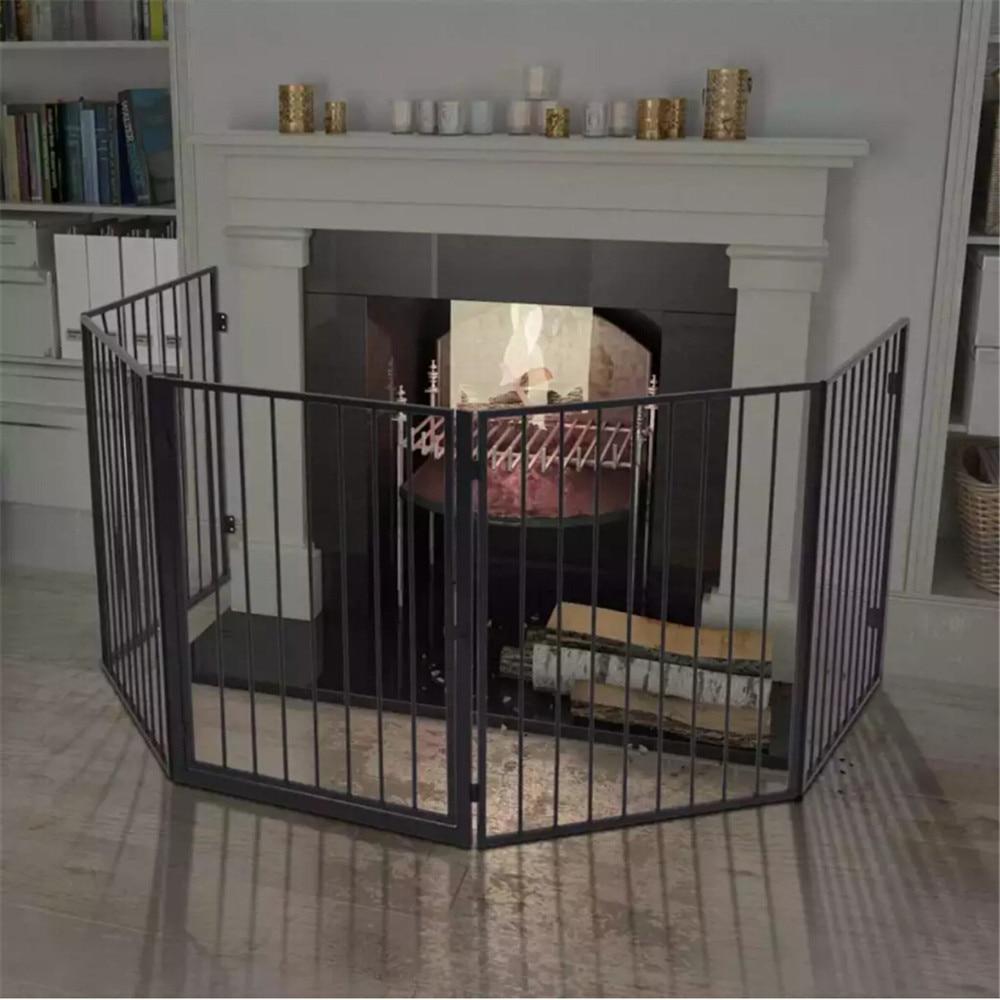 VidaXL Pet chimenea cerca acero negro portátil plegable seguro protector chimenea protección puerta mágica de seguridad para perros y gatos, mascotas