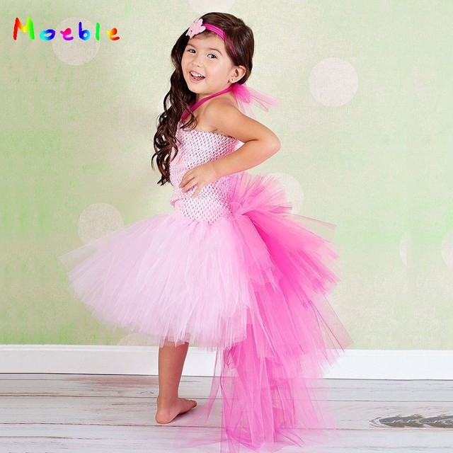 Pink Flamingo Bustle Girls Tutu Dress Tulle Princess Dress for Kids Party  Dresses Children Christmas New Year Costume Vestidos 9a101756df4e