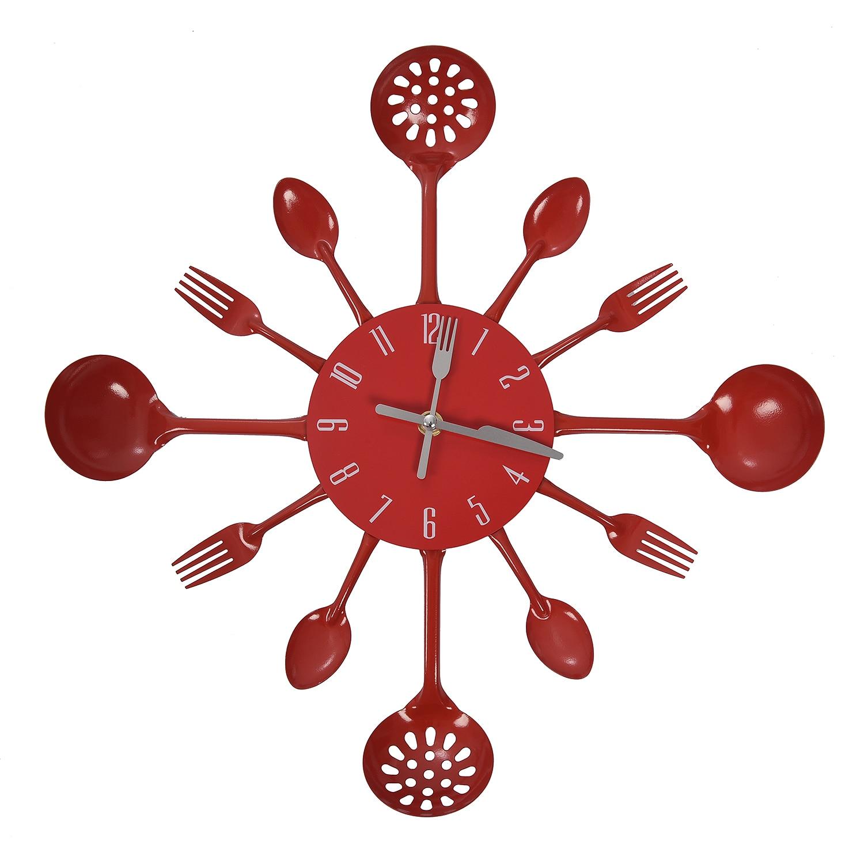 Housewares Cutlery Wall Clock - Red  WALL CLOCK