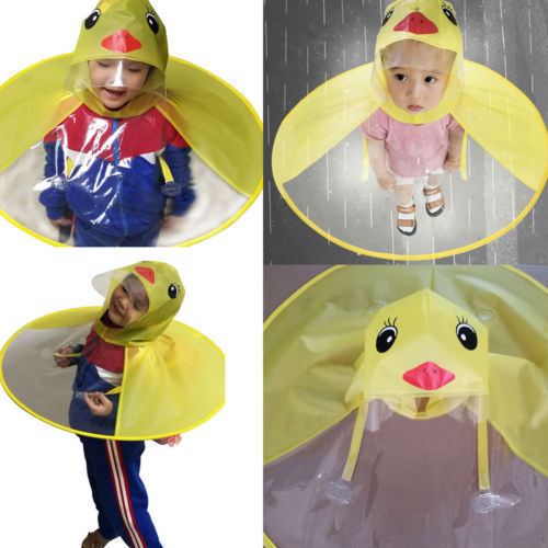 Yellow Duck Children Raincoat Kids UFO Raincoat Umbrella Cartoon Duck EVA  Rain Hat Cape Flowery Foldable Gifts f638510bff81
