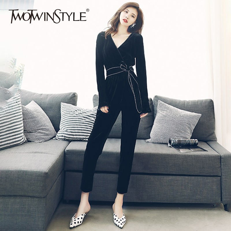 TWOTWINSTYLE Velvet Jumpsuits Women V Neck Long Sleeve High Waist Lace Up Ankle Length Pants Female