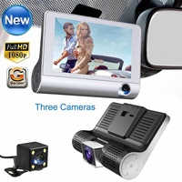 4.0'' 3 Way Full HD 1080P Car DVR Mirror Camera Video Recorder Auto Registrator Dual Lens Dash Cam DVRS + Rearview Camera