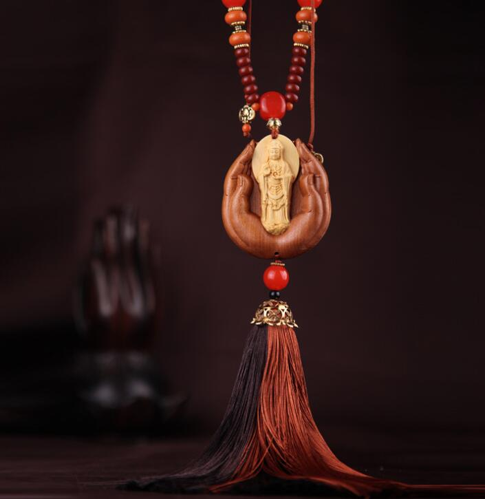 Chinese Boxwood Carved Double Colors Tassel Guan Yin Kwan-yin Bodhisattva Standing On Buddha Hand Exquisite Car Pendant Statue