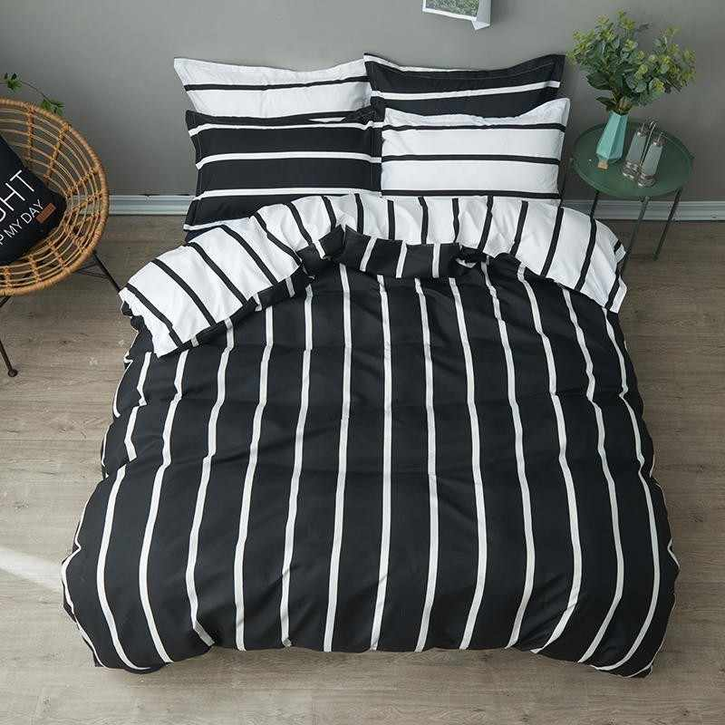 Black And White Bedding Set With 2-4Pcs Full Bed Sheet Duvet Cover Twin Bedding Sets And Pillowcase Comforter In Queen/King Size