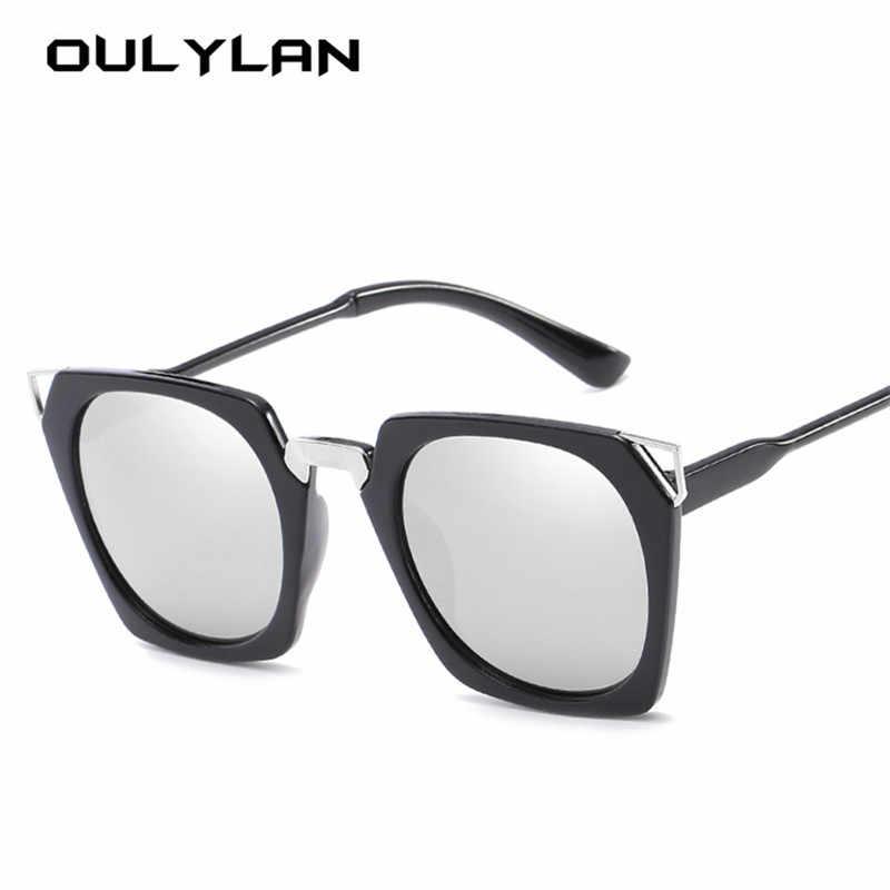 03e80451e3 Oulylan Cat Eye Sunglasses Women 90s Fashion Rectangle Sun Glasses Female  Vintage Design Cateyes Sunglasses Silver