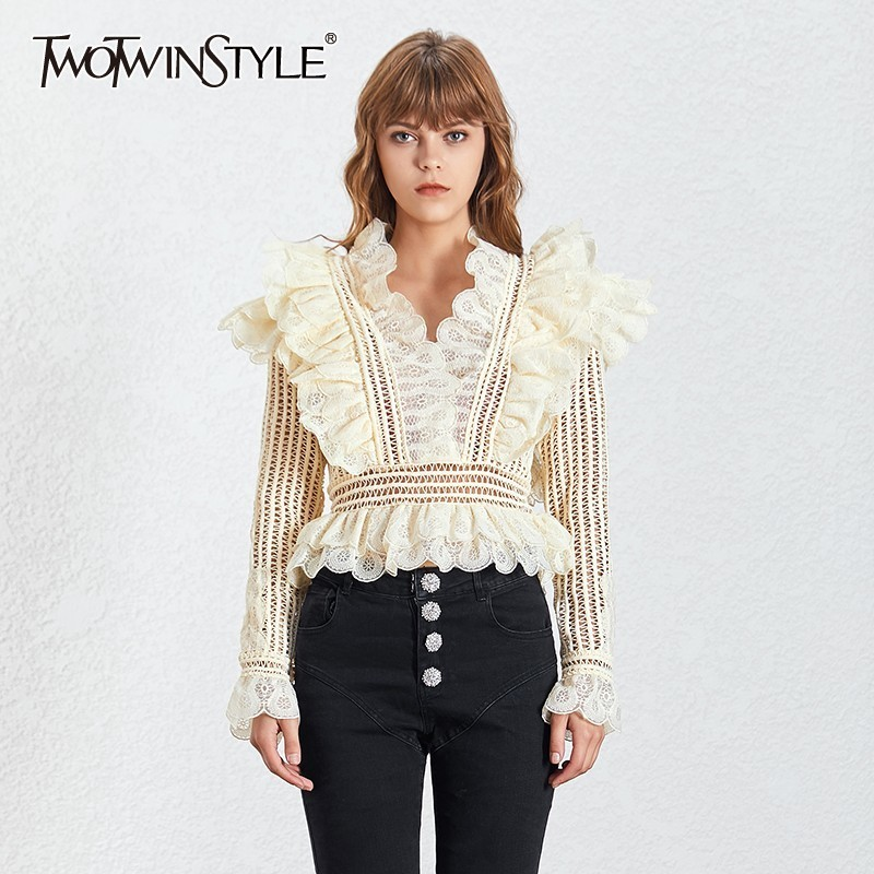 TWOTWINSTYLE Lace Hollow Out Blouse TBL19730