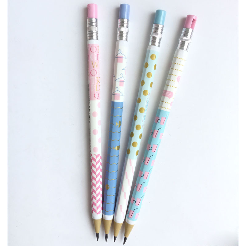 4pcs/lot 2 Mm Dot Coat Hanger Letter Plastic Mechanical Pencil Automatic Pen For Kid School Office Supply Escolar Papelaria