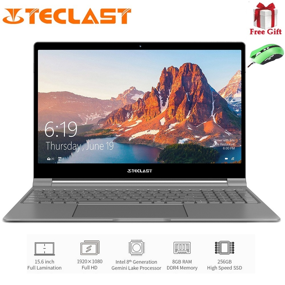 Teclast F15 Notebook da 15.6 pollici 1920x1080 IPS Finestre 10 Intel N4100 Quad Core da 1.1 GHz 8 GB di RAM SSD DA 256 GB HDMI Del Computer Portatile 6000 mAh