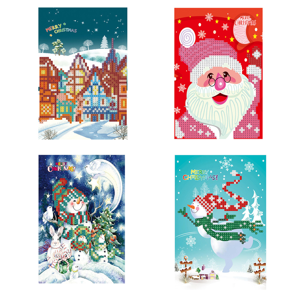 Children Christmas Cards.Us 2 38 22 Off Christmas Greetings Cards Drilled Diamond Paper Painting Greeting Card Festive Birthday Wish Card Children Greeting Cards In Pendant