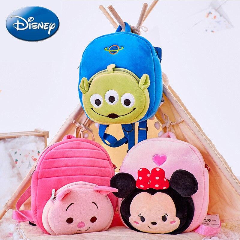 Disney Cartoon Outdoor Anti Lost Bag Kids Backpack High capacity Children Winnie Minnie Piglet Plush Bag For Boys And Girls