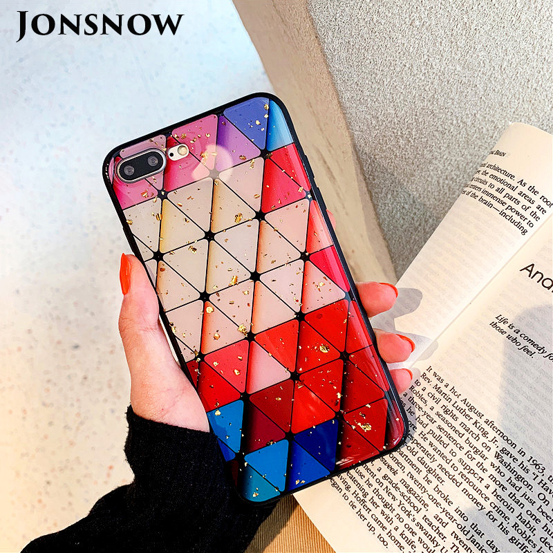 JONSNOW Phone Case for iPhone 6S 6Plus 7 8 Plus X XR XS Max Gold Foil Beautiful Colorful Pattern Tempered Glass Back Cover Cases in Fitted Cases from Cellphones Telecommunications