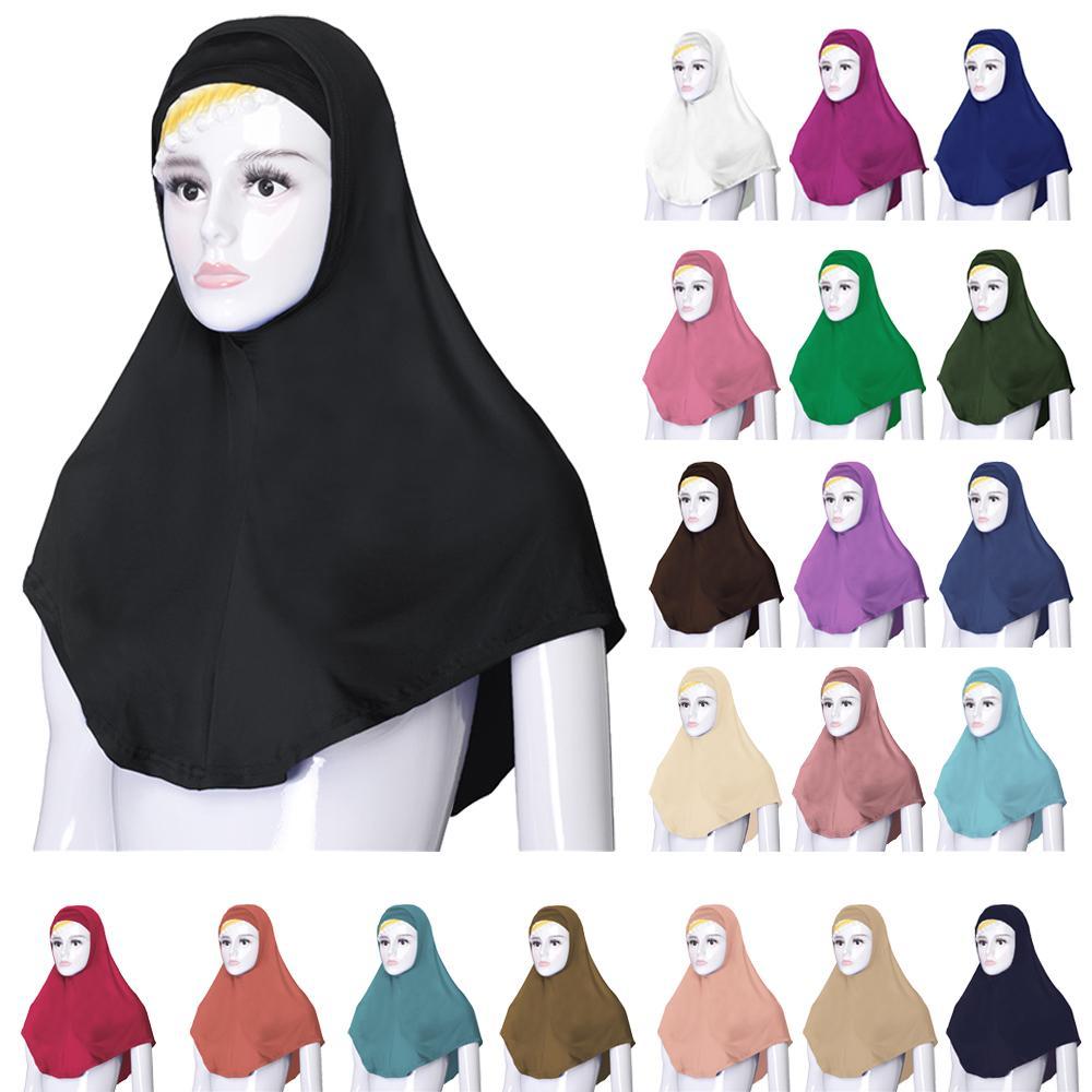 2PCS Hijab Muslim Women Bone Bonnet Scarf Amira Hijabs Under Scarf Shawl Wrap Islamic Prayer Caps Hat Overhead Headscarf Arab