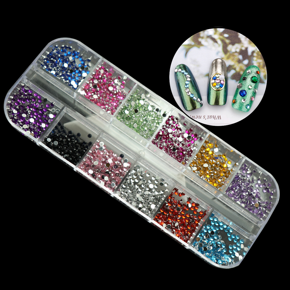 1 Box 1.8mm Mixed Flatback Rhinestone Silver Back Non Hot Fix Resin Stones Small Beads All For Manicure Nail Art Gem