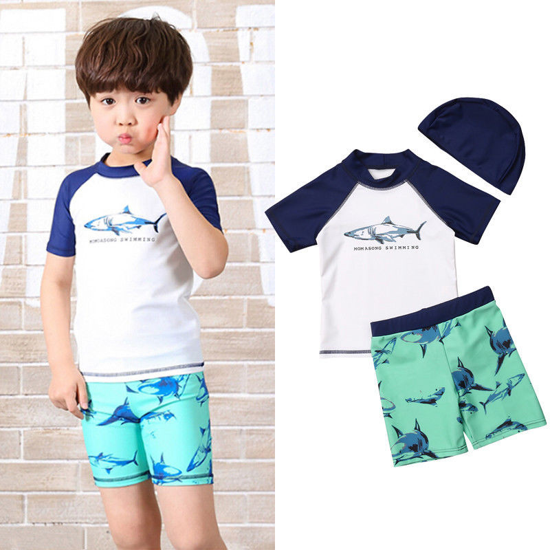 Rompers 2019 New Infant Baby Kids Boy Summer Beach Swimwear Sets Dinosaur Floral Print Swimsuit Swimming Costume Trunks+cap Set Durable In Use Mother & Kids