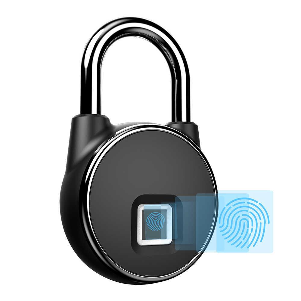 Smart Door Lock Keyless Fingerprint Lock 10 Groups Fingerprints IP66 Waterproof Padlock for Storage Lockers Luggage Cases