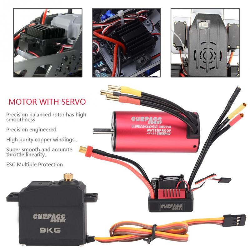 3674 F540 V1 1900KV 3930KV Motor KS 80A 45A ESC 9KG 6KG Servo Set For 1