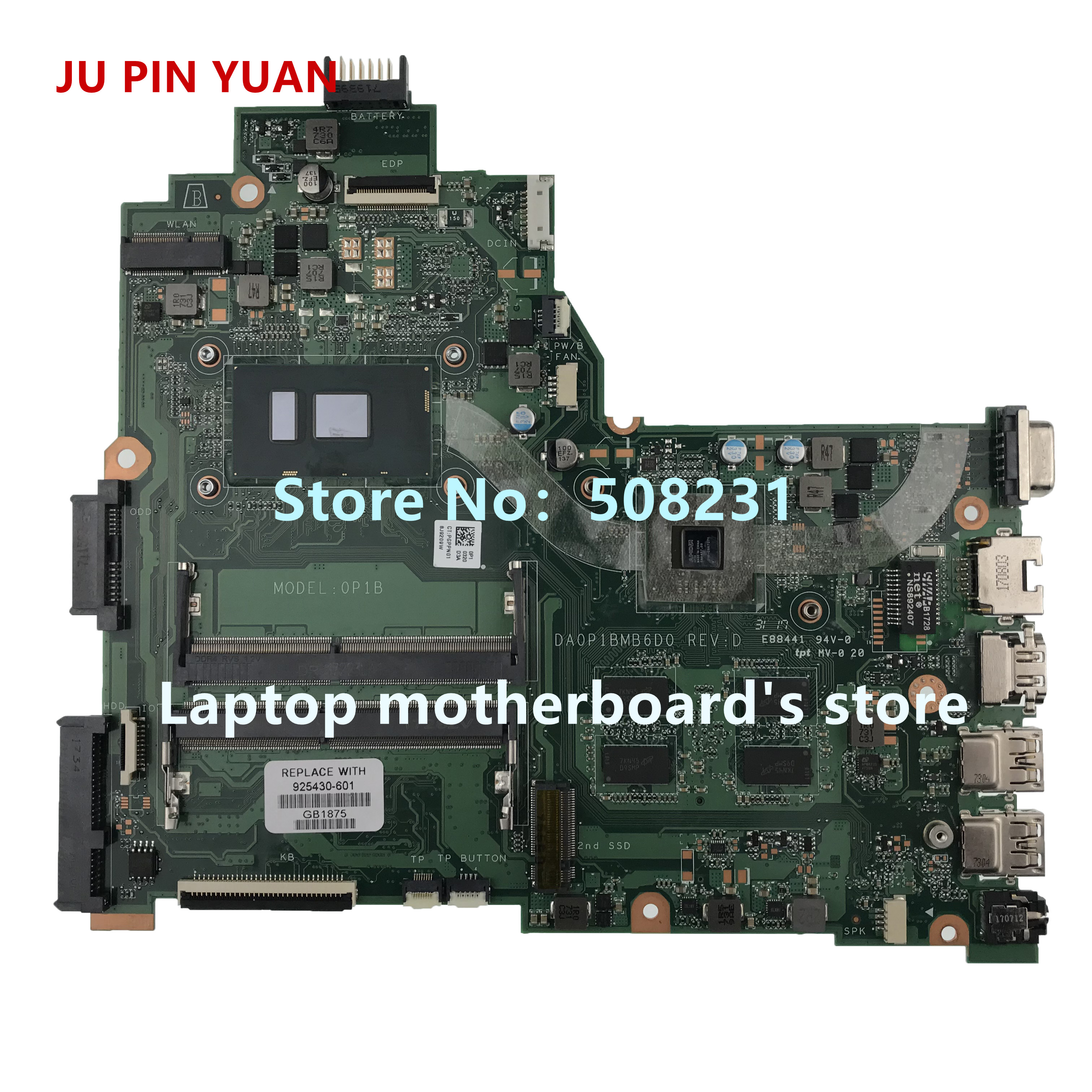 Laptop Accessories Ju Pin Yuan 925430-601 925430-001 For Hp Laptop 14-bs Laptop Motherboard Da0p1bmb6d0 With 520 4gb I5-7200u 100% Fully Tested Easy To Repair
