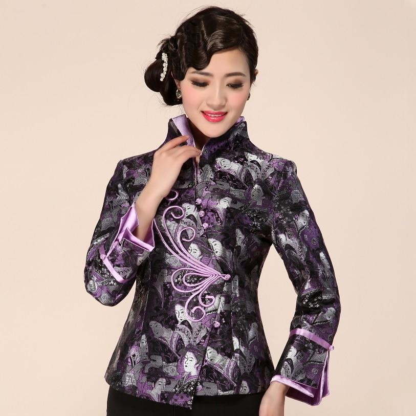 New PURPLE Fashion Chinese Women/'s Silk Satin Jacket Coat FlowersM-3XL 2203