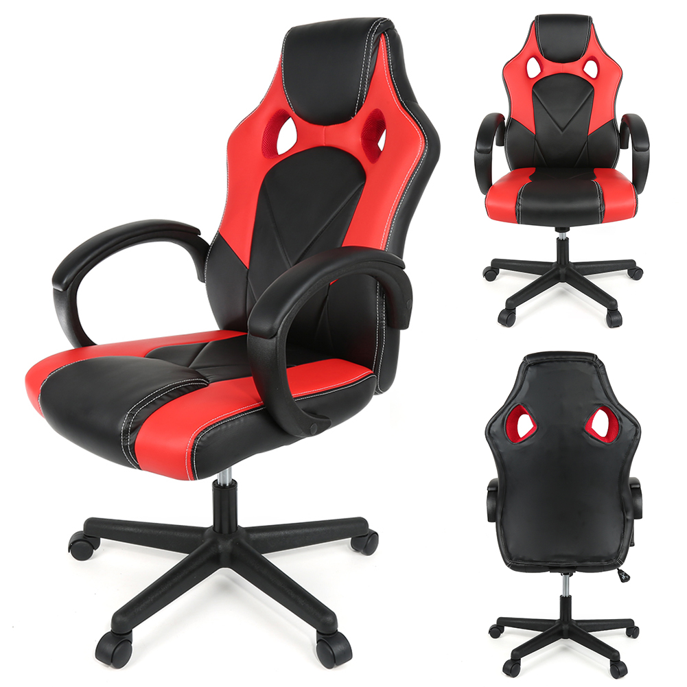 Fashion Adjustable Office Chair Ergonomic High-Back Faux Leather Gaming Chair Swivel Reclining Executive Padded Footrest Chair