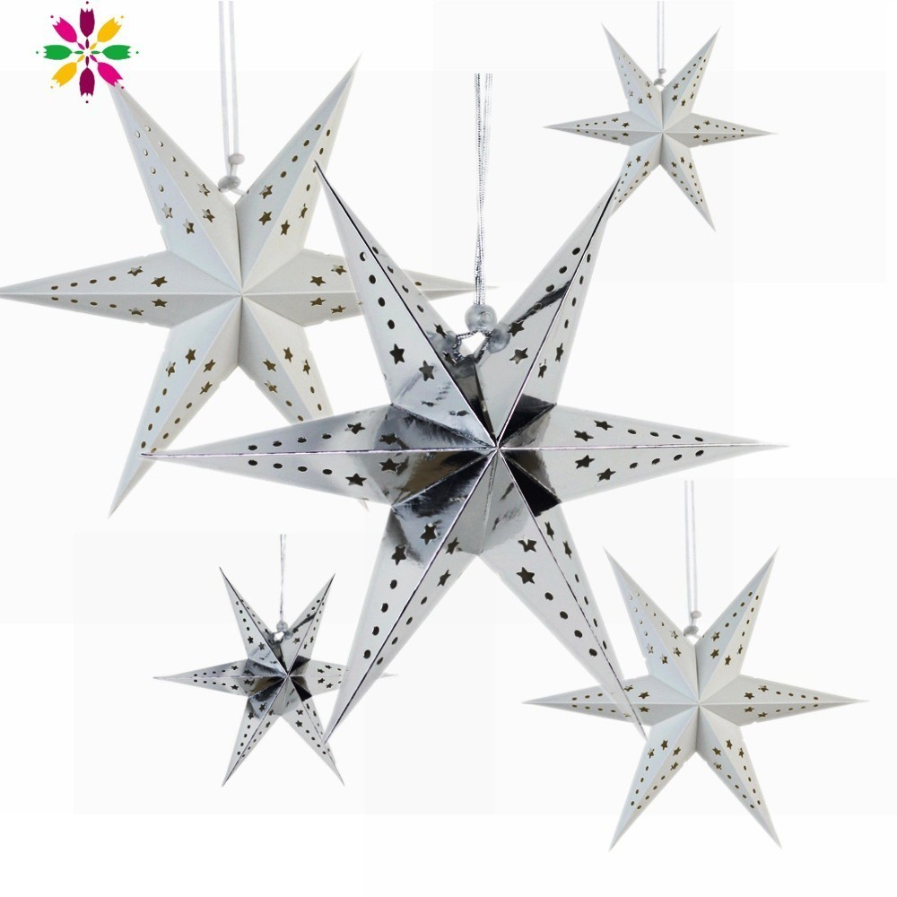 Christmas Ornaments Decorations 1pc Hanging Paper Star Lantern Silver & White For Merry Christmas Home New Year Decor(China)