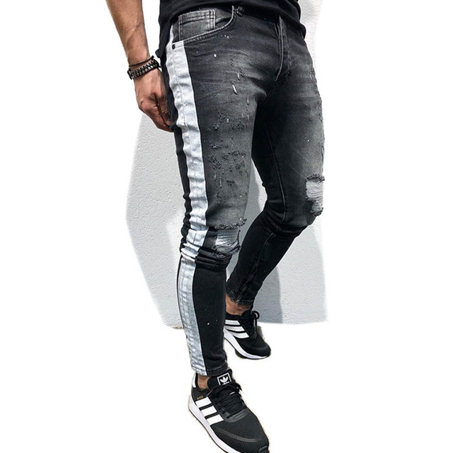 0719f004 Men Striped Skinny Jeans Male Stretchy Pencil Pants Knee Ripped Holes Jeans  Hip Hop Slim Fit