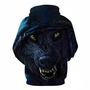 Image 2 - Punk wolf 3D printing hoodie unisex sweatshirt mens hooded casual pullover BIANYILONG brand custom autumn new